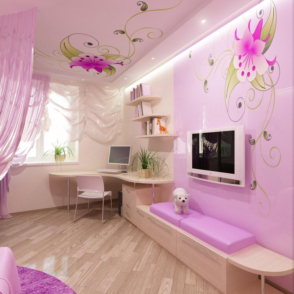 Дизайн потолки детской комнаты для девочек