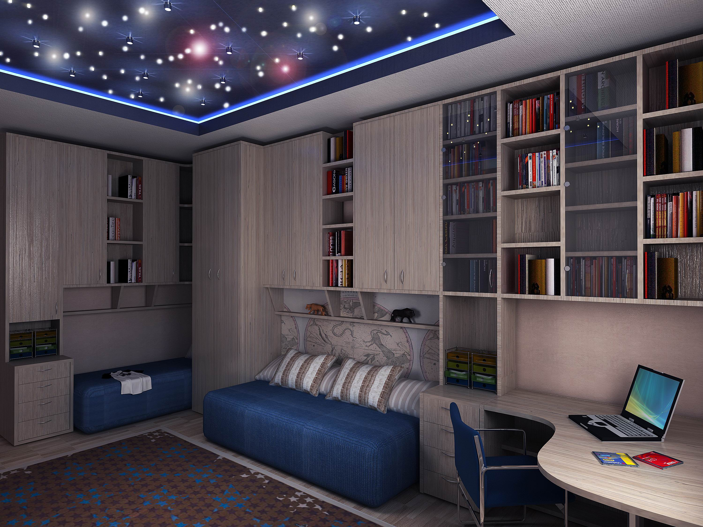 Потолок звездное небо в детской комнате.