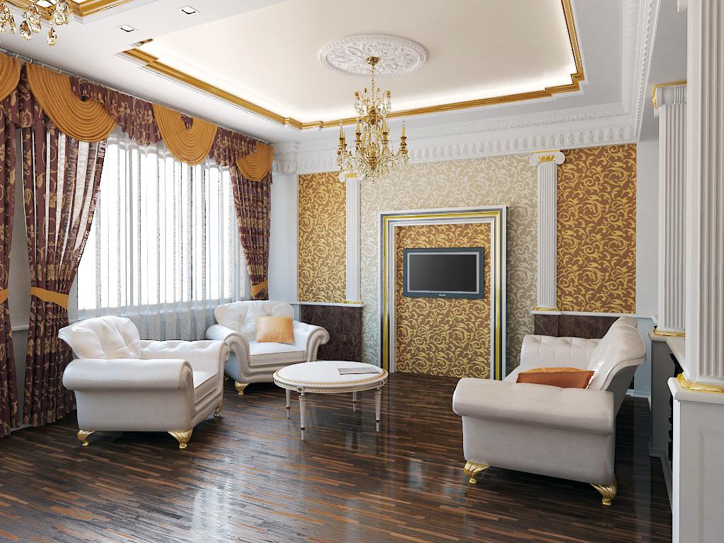 Дизайн зала современная классика 152