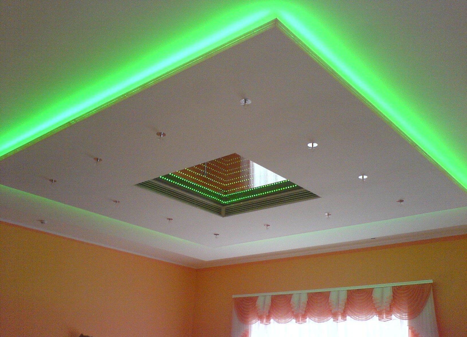 Светодиодная лента на натяжной потолок своими руками видео