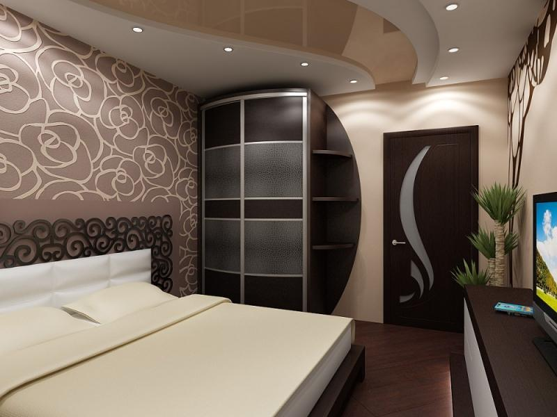 Дизайн натяжных потолков в маленькой спальне фотографии